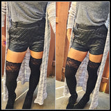 Lace Over The Knee Socks-Avail In 4 Colors-Black, Charcoal Grey, Heather Grey, Navy