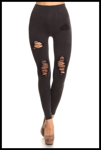 Distressed Denim Look Moto Leggings-Avail In Black, Army Green, Denim Blue, Red & Charcoal Gray