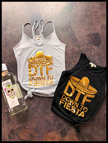 DTF Down To Fiesta Strappy Gray Cinco De Mayo Tank