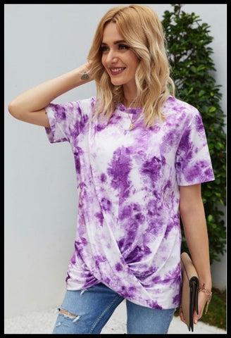 Purple Tie Dye Twist Front Tee