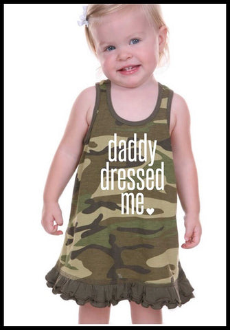 Daddy Dressed Me Camo Ruffle Dress