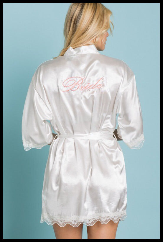 Bridal Party Lace Trim Satin Embriodered Robes-Bride/Moh/Bridesmaid