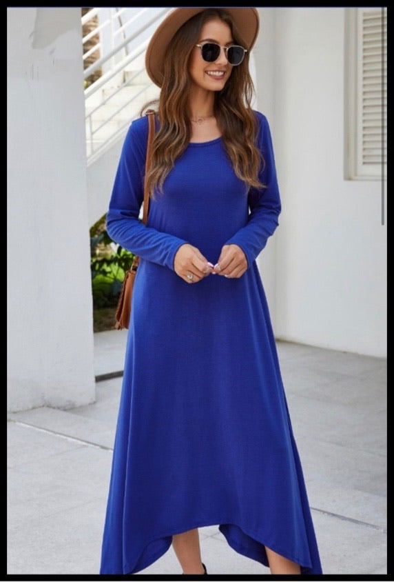 Long Sleeved High Low Maxi Dress