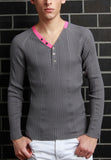 Variegated Rib Y Neck Henley