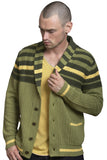Stripe Yoke Shawl Collar Cardigan