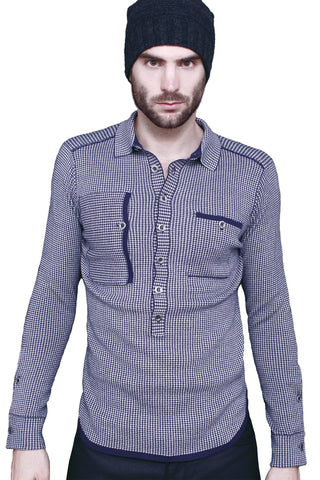 Deep Placket Pullover Sweater Shirt