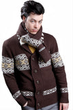 Double Knit Jacquard Shawl Collar Cardigan