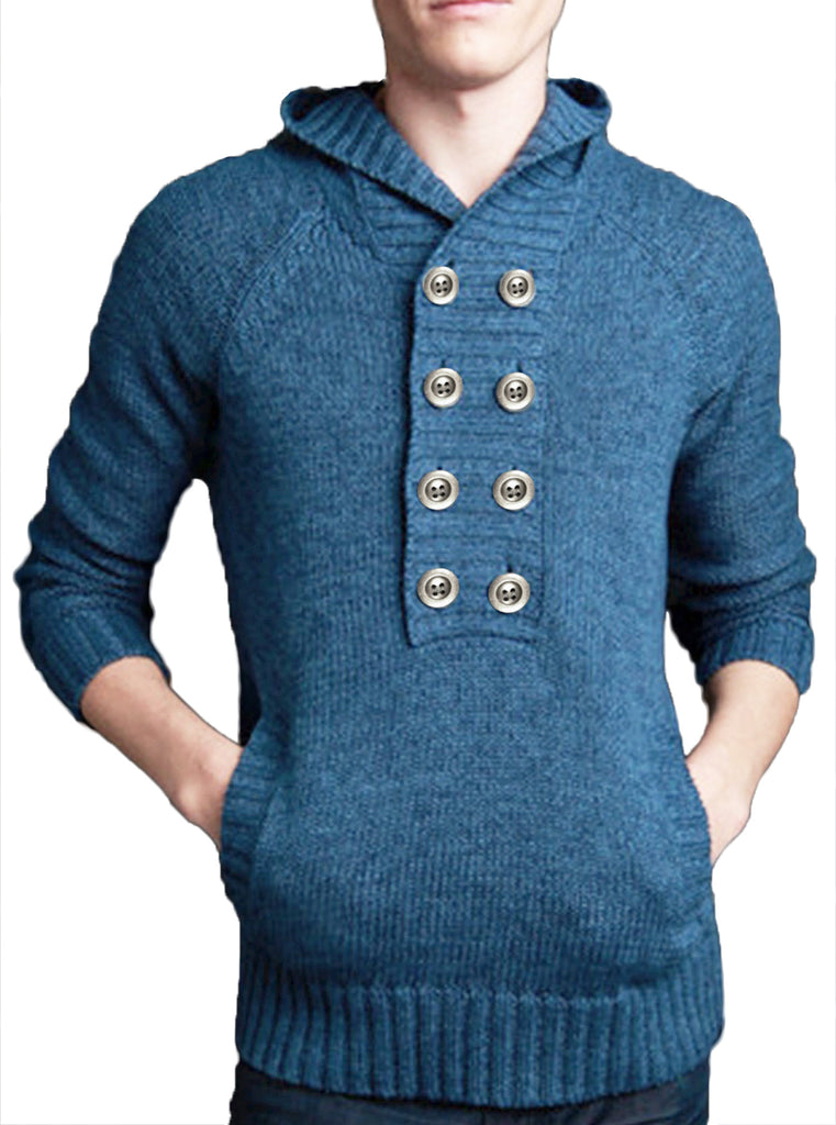 Marled Double Placket Hoodie