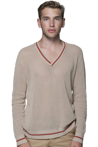 Open Stitch V Neck