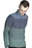 Marled Color Blocked Funnel Neck