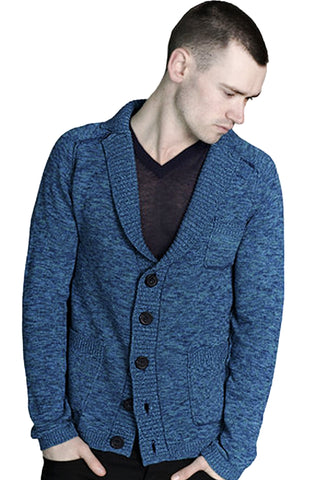 Marled Notch Shawl Collar Cardigan