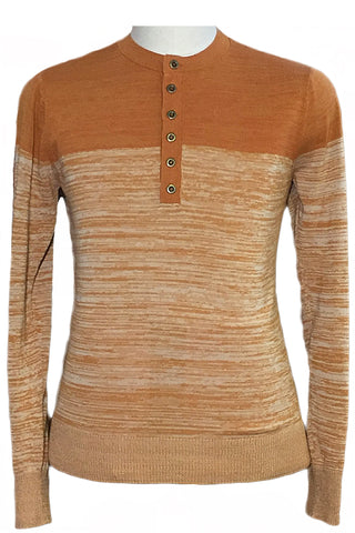 Marled Color Block Long Placket Henley