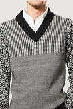 Houndstooth Yoke V Neck Sweater