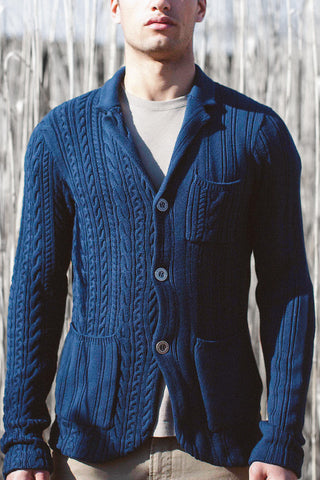 Plaited Diamond Shawl Collar Cardigan