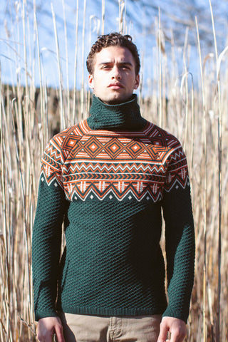 Jacquard Funnel Neck