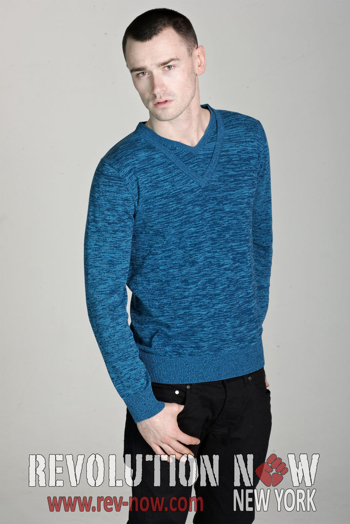 Marled Double V Neck Pullover