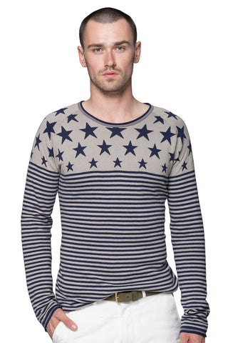 Nautical Stripe Ladder Stitch Crewneck