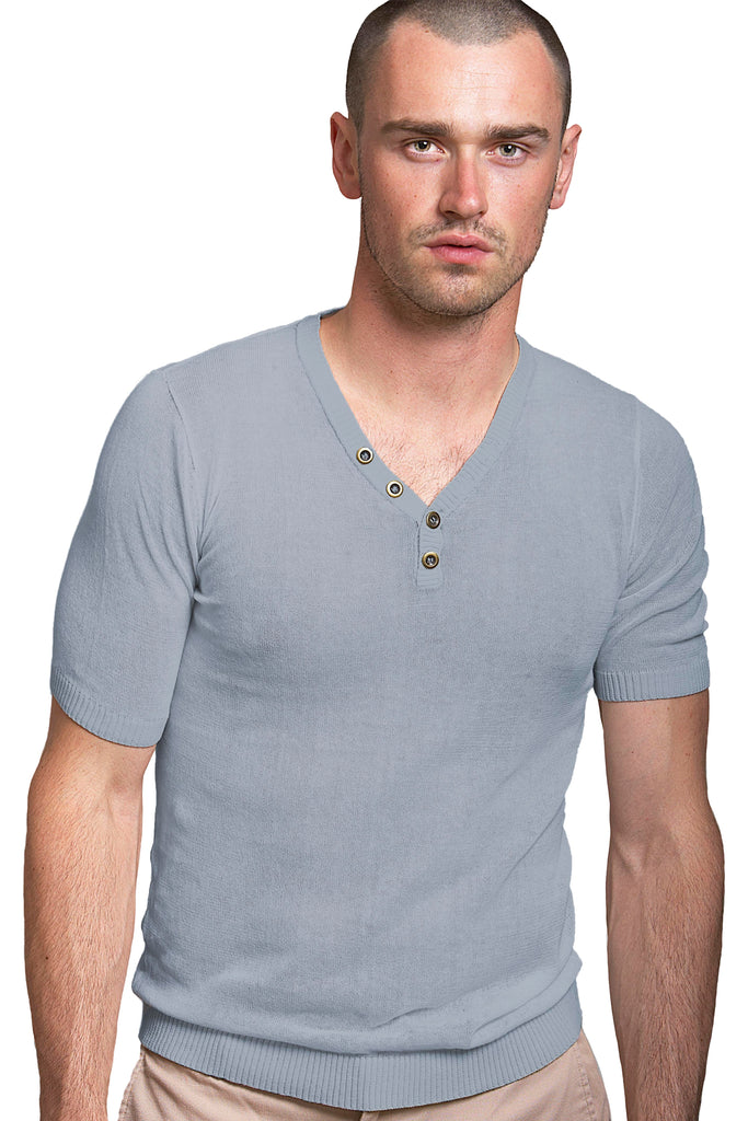 Sheer Short Sleeve V Neck Henley