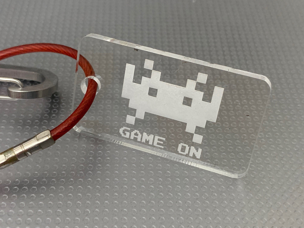 """Game On"" invaders key tag"