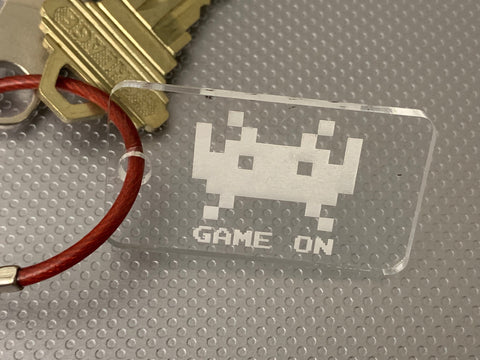 "Image of ""Game On"" invaders key tag"