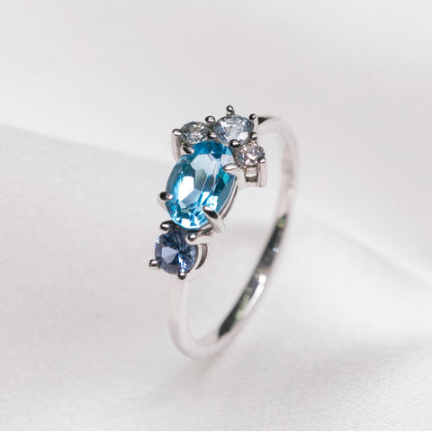 Aquamarine ring r 047-purplemay jewellery