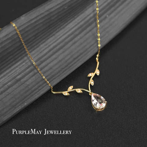 18K SOLID GOLD PINK MORGANITE DIAMOND NECKLACE