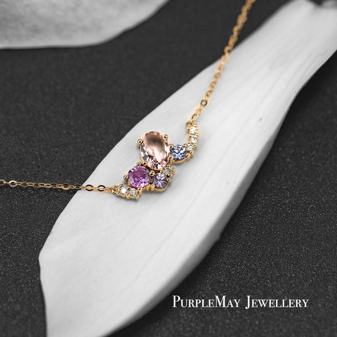 18K SOLID GOLD BABY PINK MORGANITE AND SAPPHIRE DIAMOND CLUSTER NECKLACE