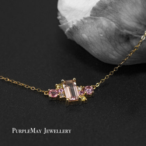 18K SOLID GOLD PINK MORGANITE AND SAPPHIRES CLUSTER NECKLACE