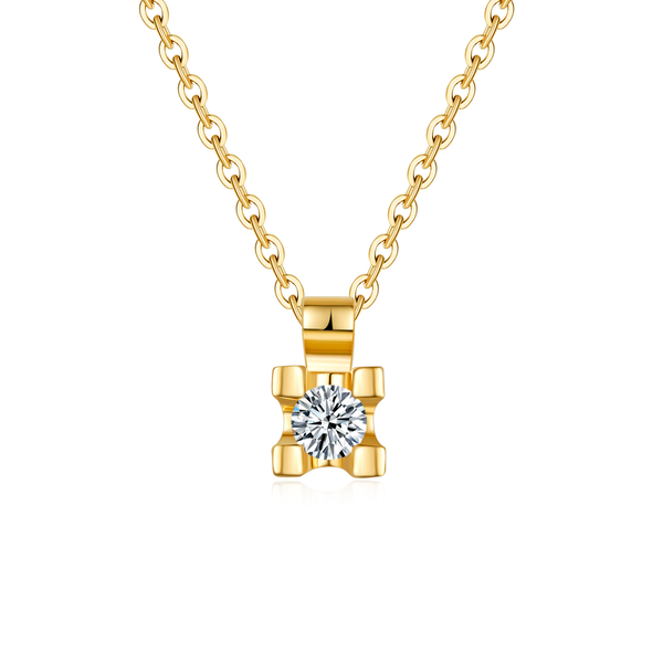 18k Solid Gold Single Prong Set Diamond Necklace