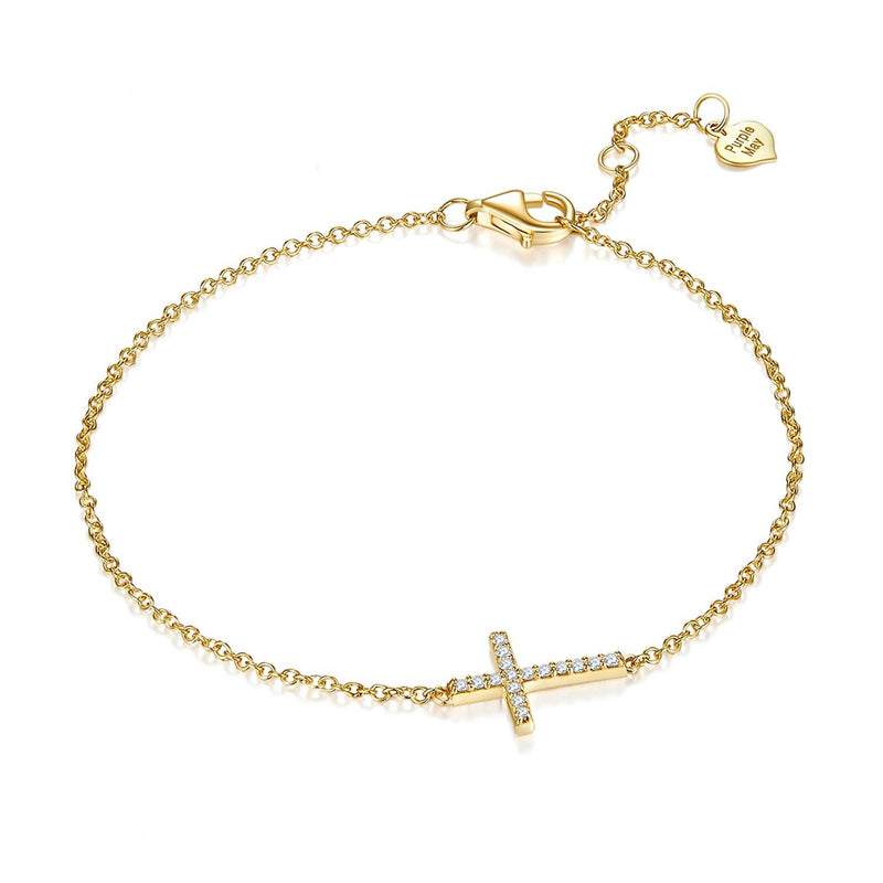 Cross Diamond Bracelet in 18k Yellow Gold - Melbourne, Australia