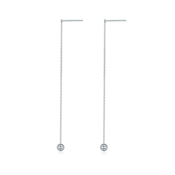 18k White Gold Bezel Set Diamond Drop Earrings - Melbourne, Australia