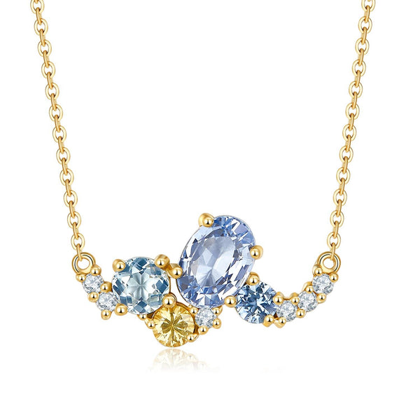 18k Solid Gold Sky Blue Sapphire and Diamond Cluster Necklace