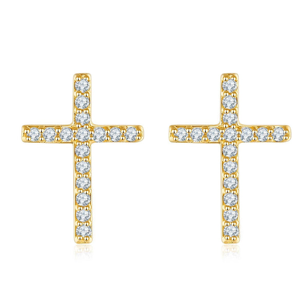 18K Solid Gold Cross Diamond Earrings - Melbourne, Australia