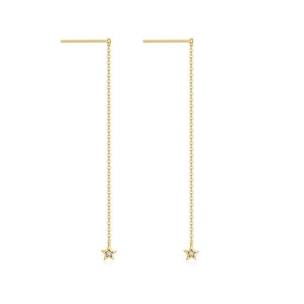 Binary Star Diamond Drop Earrings in 18k Yellow Gold - Melbourne, Australia