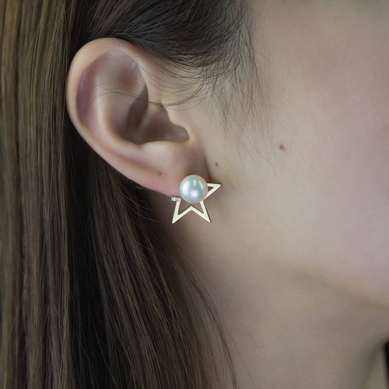 Sea Pearl Studs with Diamond Star Two Way Earrings - Melbourne, Australia