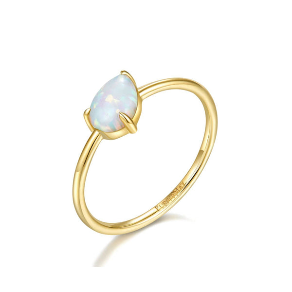 18k Solid Gold Pear Shape Australian White Opal Ring Band | Rings Melbourne Australia