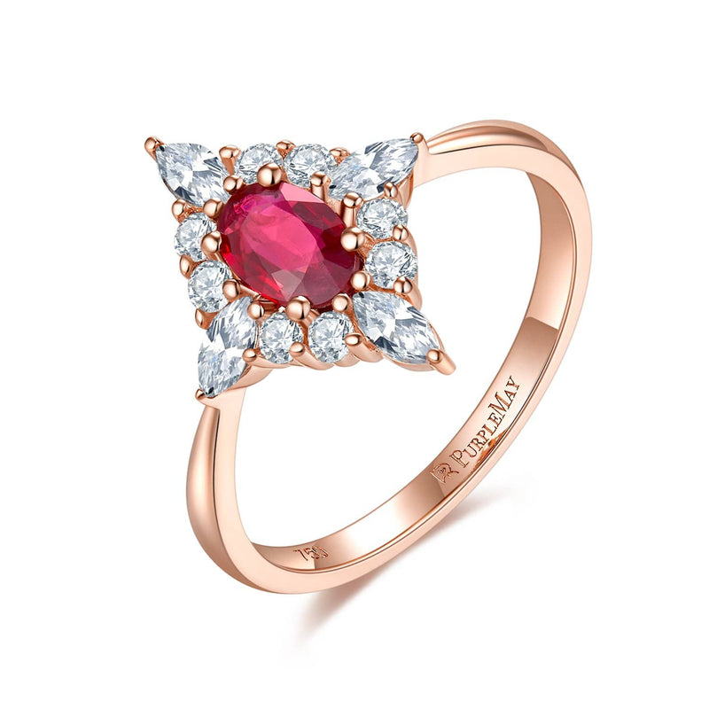 18k Solid Gold Ruby and White Sapphire Cluster Engagement Ring - Melbourne, Australia