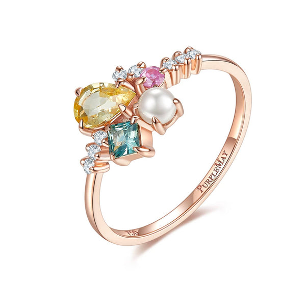 18k Solid Gold Yellow Sapphire and Akoya Pearl Cluster Ring - Melbourne, Australia