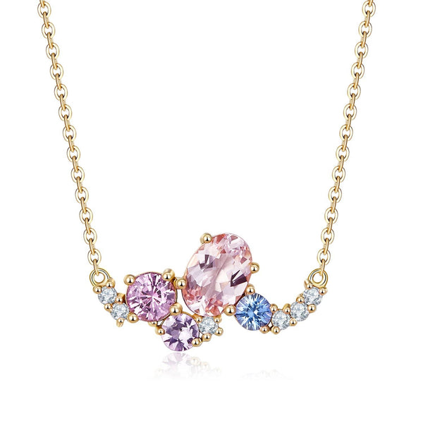 18k Solid Gold Baby Pink Sapphire and Diamond Cluster Necklace