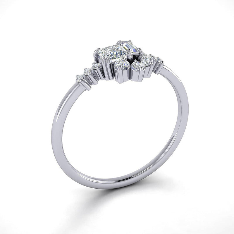 Buy princess cut engagement rings | 18k Solid Gold Sparkle Diamond Cluster Ring - Melbourne, Australia