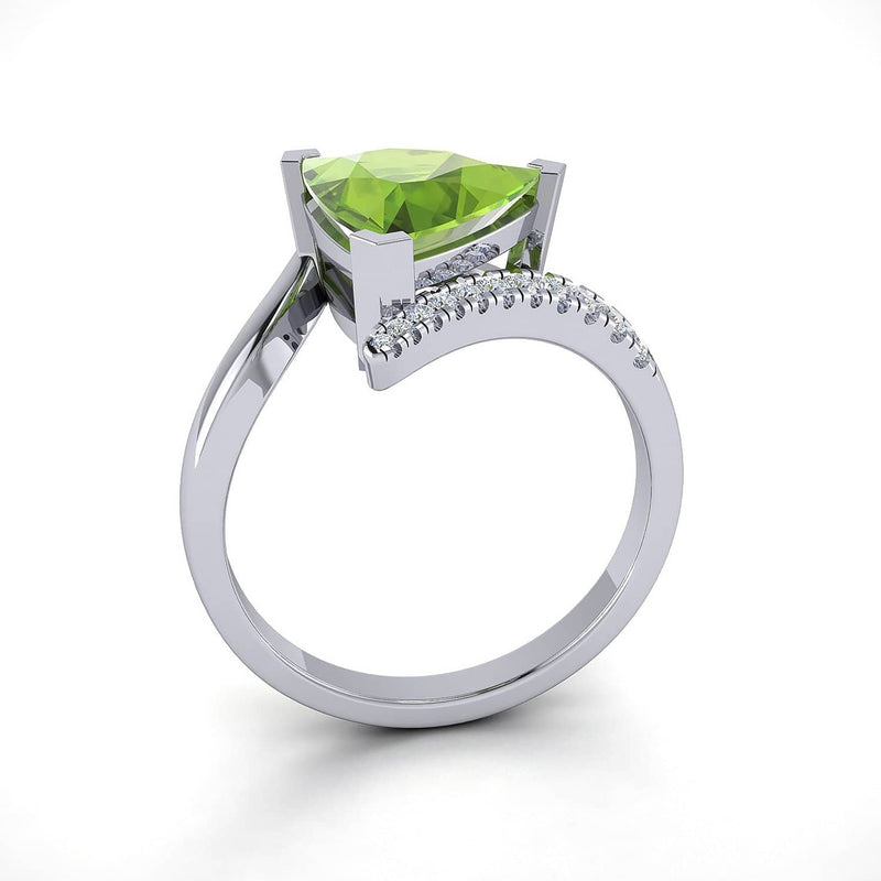 18k Solid Gold Triangle Peridot Diamond Engagement Ring | Rings Melbourne Australia