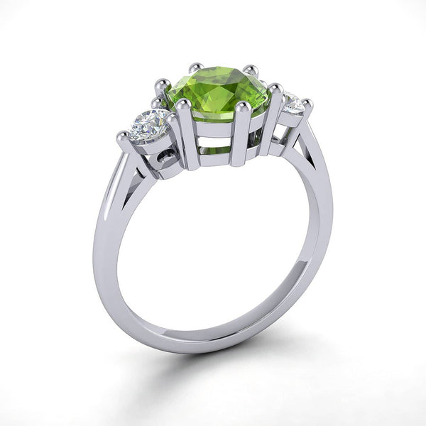 18k Solid Gold Round Peridot Diamond Wedding Ring | Rings Melbourne Australia