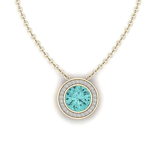 18K SOLID GOLD BLUE TOURMALINE NECKLACE - Melbourne, Australia