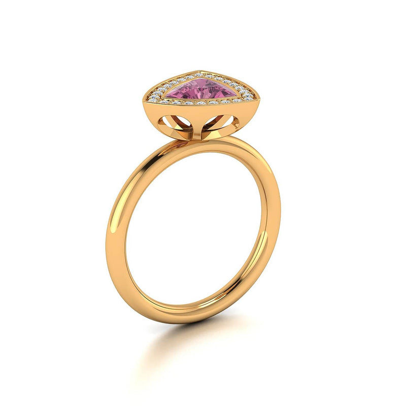 18K SOLID GOLD TOURMALINE AND DIAMOND ENGAGEMENT RING - Melbourne, Australia