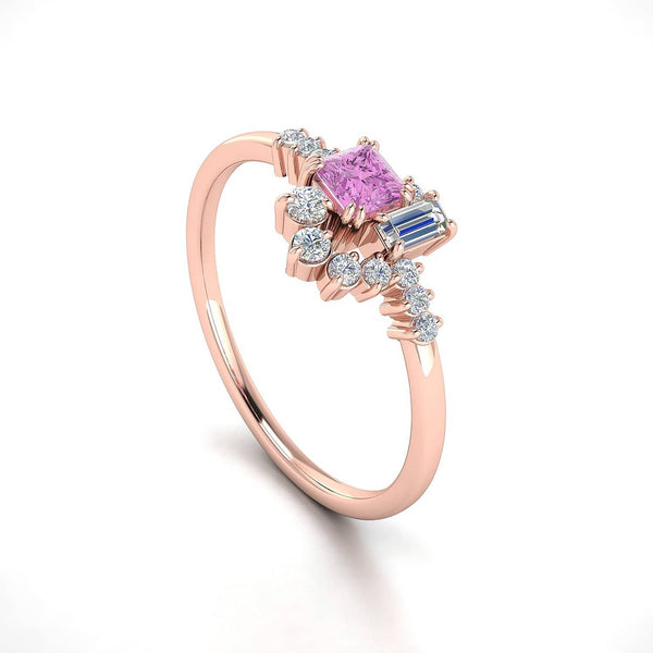 18k Solid Gold Sparkle Diamond and Pink Sapphire Cluster Ring - Melbourne, Australia