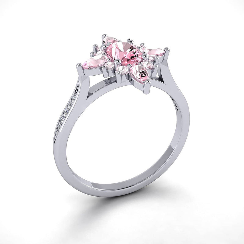 Sapphire Rings Melbourne | Antique Pink Diamond Sapphire Ring in White Gold