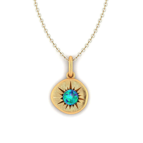 18K SOLID GOLD AUSTRALIAN BLACK OPAL NECKLACE - Melbourne, Australia