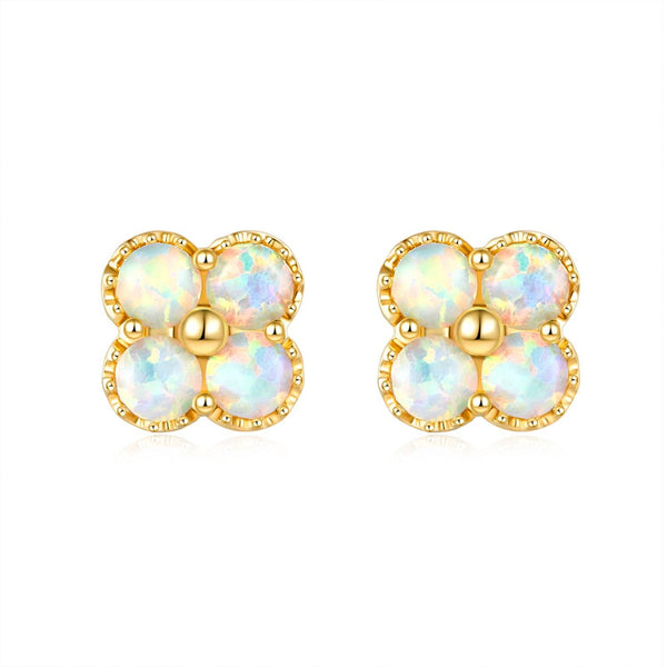 18k Solid Gold Australian White Opal Clover Stud Earrings - Melbourne, Australia