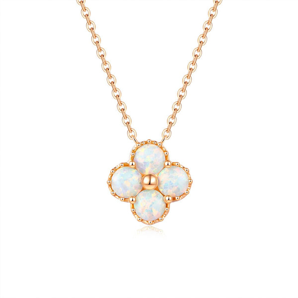 18k Solid Gold Australian White Opal Four Leaves Clover Necklace - Purplemay Jewellery