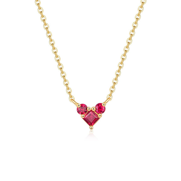 18k Solid Gold Heart Shape Natural Ruby Necklace - Purplemay Jewellery
